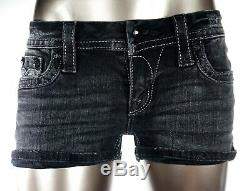 $180 Buckle Rock Revival Jean Karla Jet Black Swarovski Leather Shorts 26