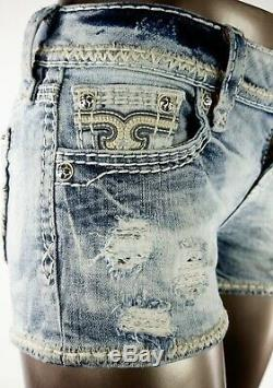 $180 Buckle Rock Revival Jeans Arlia Heather Gray Leather Inserts Shorts 26