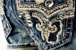 $180 Buckle Rock Revival Jeans Betty Leather Inserts Acid Wash Shorts 29 Rare