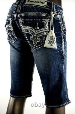 $180 Buckle Rock Revival Jeans Betty Silver Sequins Leather Bermuda Shorts 28