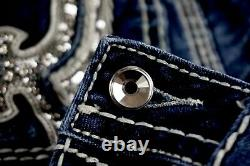 $180 Buckle Rock Revival Jeans Betty Silver Sequins Leather Bermuda Shorts 29