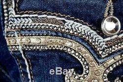 $180 Buckle Rock Revival Jeans Betty Swarovski Leather Inserts Shorts 27