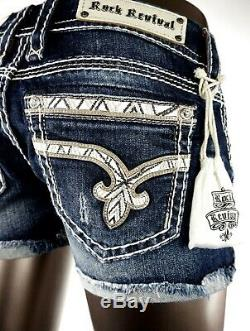 $180 Buckle Rock Revival Jeans Champagne Swarovski Leather Inserts Shorts 29