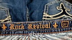 $180 Buckle Rock Revival Jeans Kelly Leather Inserts Bermuda Shorts 36