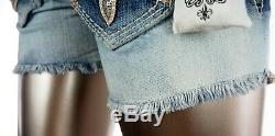 $180 Buckle Rock Revival Jeans Orange Crush Sequins Leather Inserts Shorts 26