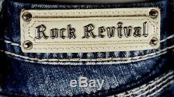 $180 Buckle Rock Revival Jeans Raven Swarovski Leather Inserts Shorts 25