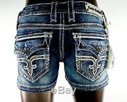 $180 Rock Revival Jean Anais Leather Insert Champagne Teal Stitch Shorts Sz 29