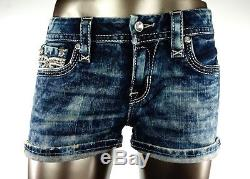 $180 Rock Revival Jean Betty Champagne Leather Inserts Acid Wash Shorts Sz 29