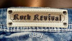 $180 Rock Revival Jean Hanaya Champagne Leather Acid Wash Easy Shorts Sz 32