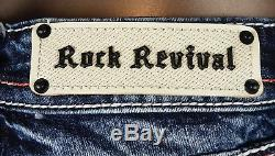 $180 Rock Revival Jean Windie Red Stitch Leather Inserts Sequins Shorts Sz 29