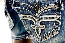 $180 Rock Revival Jeans Anais Leather Insert Champagne Teal Stitch Shorts 28