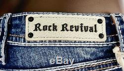 $180 Rock Revival Jeans Anais Leather Insert Champagne Teal Stitch Shorts 29