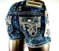 $180 Rock Revival Jeans Betty Champagne Leather Inserts Acid Wash Shorts Sz 24