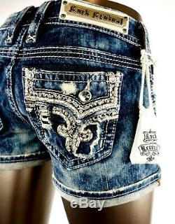 $180 Rock Revival Jeans Betty Champagne Leather Inserts Acid Wash Shorts Sz 31