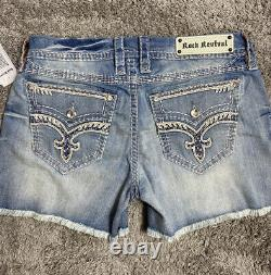 $180 Rock Revival Jeans Jelina Swarovski Crystal Leather Inserts Shorts Sz 30
