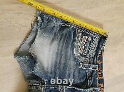 $180 Rock Revival Jeans Windie Red Stitch Leather Inserts Sequins Shorts Jewel