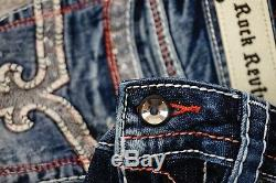 $180 Rock Revival Jeans Windie Red Stitch Leather Inserts Sequins Shorts Sz 29