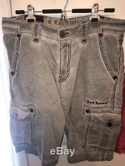 2 pairs Rock Revival Men's Stylish Shorts size 34 Red/Gray Fashionable Trendy