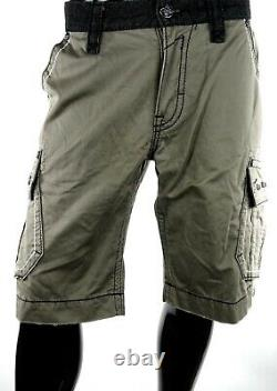 $220 Buckle Mens Rock Revival Jean Army Green Leather Inserts Twill Shorts 34