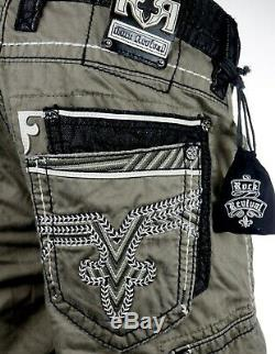 $220 Buckle Mens Rock Revival Jean Army Green Leather Twill Shorts 34