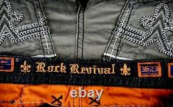 $220 Buckle Mens Rock Revival Jean Army Green Leather Twill Shorts 36