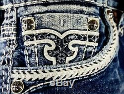 $220 Buckle Mens Rock Revival Jean Triton Leather Inserts Faux Shorts 29