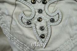 $220 Buckle Mens Rock Revival Swarovski Crystals Metallic Stud Leather Shorts 34
