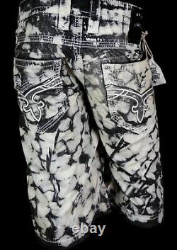 $220 Mens Rock Revival Acid Stone Twill Dirty Wash Leather Inserts Shorts 42