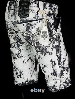 $220 Mens Rock Revival Acid Stone Twill Leather Inserts Shorts 29