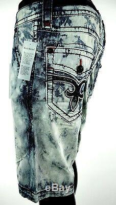 $220 Mens Rock Revival Acid Wash Leather Inserts Shorts Sz 34 Sold Out Rare
