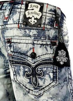 $220 Mens Rock Revival Acid Wash Leather Inserts Shorts Sz 44 Sold Out Rare