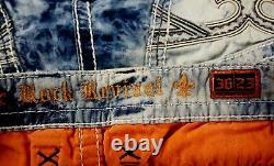 $220 Mens Rock Revival Acid Wash Shorts White Leather Inserts Twill Size 36