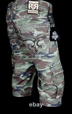 $220 Mens Rock Revival Army Camo Leather Inserts Faux Pockets Shorts Size 38