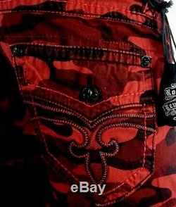 $220 Mens Rock Revival Blood Red Camo Leather Inserts Shorts Size 36