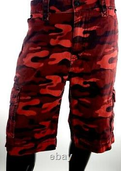 $220 Mens Rock Revival Blood Red Camo Leather Inserts Shorts Size 38