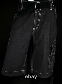 $220 Mens Rock Revival Charcoal Cargo Twill Shorts Size 42