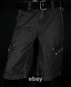 $220 Mens Rock Revival Chocolate Cargo Twill Shorts Size 33