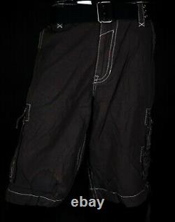$220 Mens Rock Revival Chocolate Cargo Twill Shorts Size 42