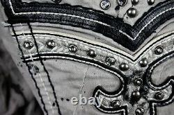 $220 Mens Rock Revival Jamal Cement Crystals Leather Inserts Moto Shorts 32