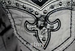 $220 Mens Rock Revival Jamal Cement Crystals Leather Inserts Moto Shorts 36