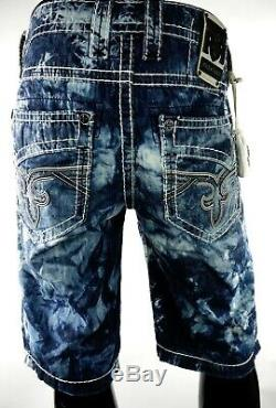 $220 Mens Rock Revival Jean Acid Wash Shorts White Leather Inserts Size 29