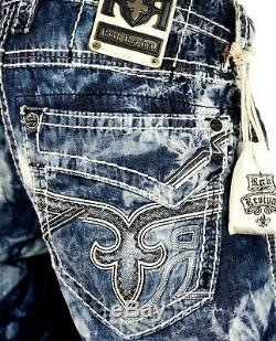 $220 Mens Rock Revival Jean Acid Wash Shorts White Leather Inserts Size 32