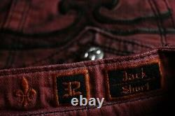 $220 Mens Rock Revival Jean Blood Red Acid Shorts Leather Insert Size 32 Rare