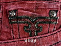 $220 Mens Rock Revival Jean Blood Red Acid Shorts Leather Insert Size 36 Rare