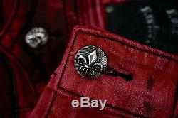 $220 Mens Rock Revival Jean Blood Red Acid Shorts Leather Insert Size 44 Rare