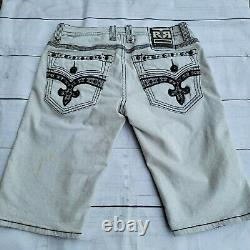 $220 Mens Rock Revival Jean Mike Giant Stud Pockets Inserts Shorts 34 Distressed
