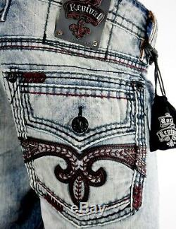 $220 Mens Rock Revival Jean Vino Blood Red Stitch Leather Shorts Size 38 Rare