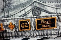 $220 Mens Rock Revival Jeans Acid Wash Cement Leather Inserts Shorts Size 42