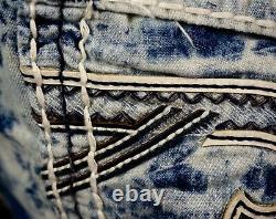 $220 Mens Rock Revival Jeans Acid Wash Leather Inserts Twill Faux Shorts 30