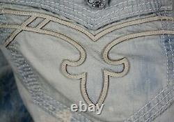 $220 Mens Rock Revival Jeans Acid Wash Leather Inserts Twill Faux Shorts 44